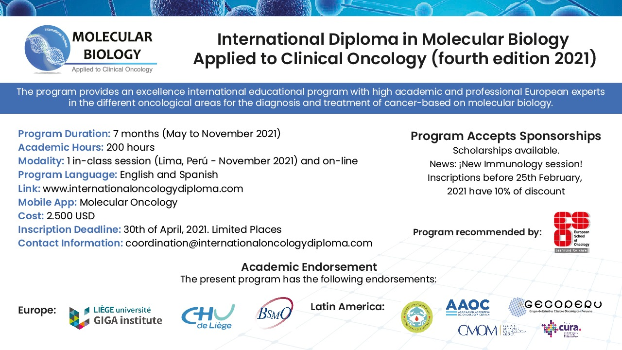 International Diploma in Molecular Biology Applied to Clinical Oncology